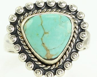 Bell Trading Gem Turquoise Sterling Silver Ladies Ring Size 5.5 - New Old Stock Bell Trading Post 925 Silver Turquoise Jewelry Southwestern