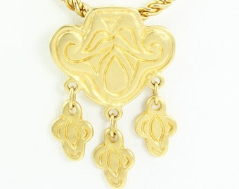 Vintage Signed Mary McFadden Quatrefoil Fringe Necklace in Goldtone - Vintage Designer Jewelry - Couture 1970s Jewelry