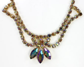 Purple Aurora Borealis Rhinestone Choker Statement Necklace Vintage 1960s - Estate Costume Jewelry
