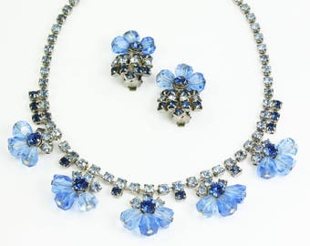 Juliana Blue Rhinestones Necklace Earrings Set Demi Parure -  Vintage DeLizza & Elster Crystal Jewelry