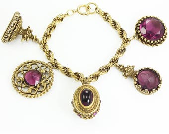 Vintage Watch Fob Charm Bracelet - Faux Gemstones Purple Glass Charms - 1960sGold Tone Rope Bracelet - Victorian Revival Jewelry