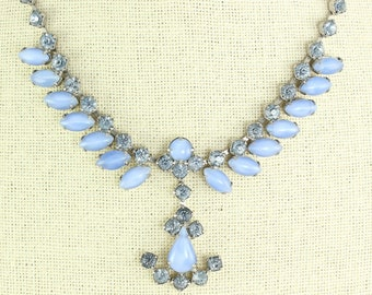 Blue Simulated Moonstone Glass Crystal Choker Necklace - Vintage 1950s Costume Jewelry