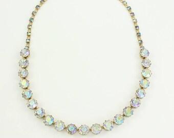 Vintage Rhinestone Choker Glittering Round Aurora Borealis Necklace Gold Tone - Rhinestone Jewelry