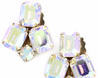 Vintage WEISS Aurora Borealis Rhinestone Clip-On EARRINGS
