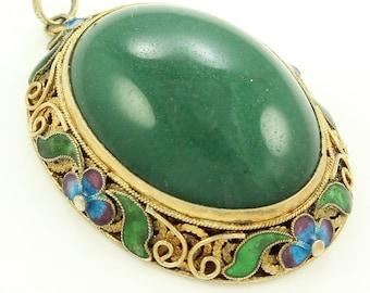 Vintage Chinese Export Silver Gilt FILIGREE Green Nephrite Jade ENAMEL PENDANT
