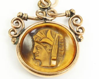 "Antique Carved Tiger Eye Cameo Watch Fob Pendant Necklace 20"" Chain - Victorian Intaglio Jewelry"