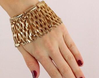 Bold Gold Tone Lattice Panel Statement Bracelet - Sixties Mid Century Mod Cuff - Signed Monet - Vintage Costume Jewelry