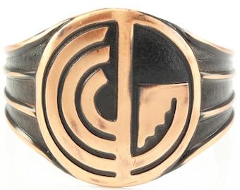 Vintage Southwestern Style Statement Copper Cuff Bracelet Journey Maze Geometric Design