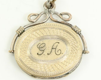 Victorian Monogrammed Locket Watch Fob Pendant Necklace circa 1870 - Antique Lockets - Estate Jewelry