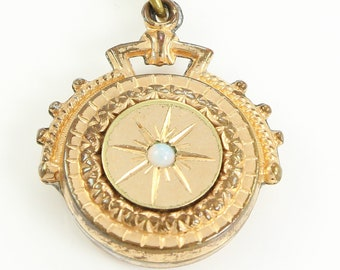 Antique Victorian Aesthetic Watch Fob Pendant Necklace with Simulated Opal in Starburst - Vintage Romantic Jewelry - Sentimental Gift