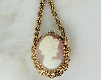 Vintage Waltham Classic Carved Shell Lady Cameo Watch Pendant Necklace -