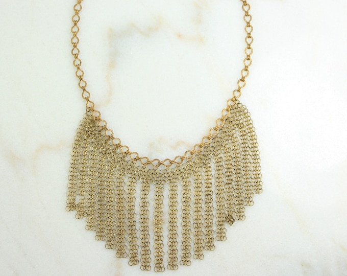 Featured listing image: Vintage Fringe Necklace Rosy Yellow 10K Gold Filled Chain Mail Flapper Choker - Statement Bib Choker - 1920s Art Deco - Vintage Jewelry