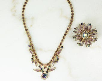 Vintage 1960's Juliana Lilac Luster Art Glass Necklace & Brooch Demi Parure - Vintage Rhinestone Jewelry - Delizza Elster