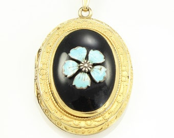 Vintage Light Blue Forget-Me-Not on Black Enamel Gold Filled Locket Pendant Necklace - Victorian Revival Jewelry - Estate Jewelry