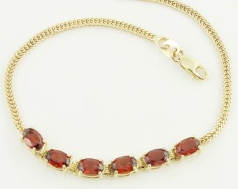 14K Rhodolite Garnet Bracelet - 14K Yellow Gold Ladies Foxtail Chain 3 CT Garnet Bracelet - Vintage Fine Jewelry