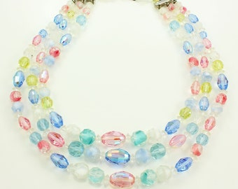 Laguna Triple Strand Pastel Beaded Necklace - Faceted Givre Aurora Borealis Glass Bead Collar - Vintage Jewelry - Signed Costume Jewelry