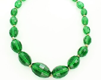 Art Deco Green Crystal Faceted Bead Graduated Necklace - Vintage Oval Glass Beaded Jewelry