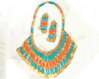 Vintage Teal and Tangerine Beaded Coin Fringe Statement Fringe Necklace and Earrings - Belly Dancing Jewelry
