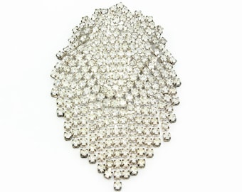1950s Rhinestone Fringe Statement Brooch - Vintage Cascading Starlight Clear Crystal Pin - Estate Jewelry