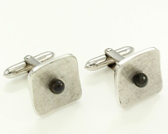 Vintage Black Cultured Pearl Sterling Cuff Links - Mid Century Silver Akoya Pearl Jewelry