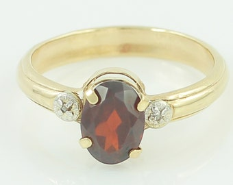 Dainty Gold Garnet Ring - 10K Yellow Gold Natural Oval Almandite Diamond Ring Size 6.5 - Signed JJT - 1980s Vintage Fine Jewelry - Estate
