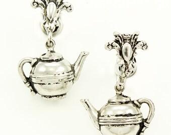 Vintage Tea Pot Coro Earrings - Silver Tone Novelty Tea Time Kitsch Screwback Dangle Earrings - Signed Costume Vintage Jewelry