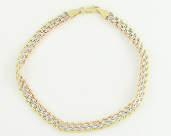 1980s 10K TriColor Gold Rope Bracelet - Triple Strand Yellow Rose White Rope Chain Delicate - 7.75 Inch 2 gram - Retro Vintage Fine Jewelry