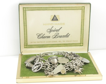 Vintage Loaded Silver Charm Bracelet - Sterling Jacoby-Bender Spiral Charm Bracelet in Box 7.5 Inch - 17 Souvenir Charms - Vintage Jewelry