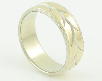 Vintage 14K Two Tone Engraved Wedding Band - Yellow White Gold 7.1 mm Wide Vine Engraved Ring Size 9 - Stacker Stack - Vintage Fine Jewelry