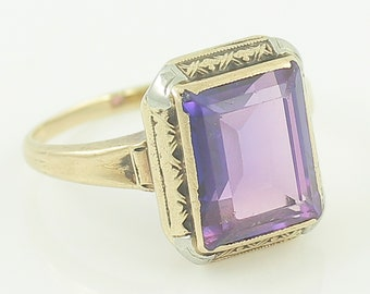 Art Deco 10K Gold Purple Spinel Ring - Edwardian Rectangular Lab Created Spinel Embossed Ring circa 1925- Size 4.75 - Vintage Fine Jewelry