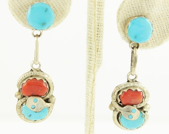 Effie C Calavaza Turquoise Coral Silver Snake Dangle Earrings - Double Cabochon Sterling Zuni Drops - Vintage Native American Jewelry