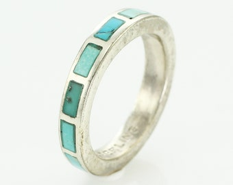 Vintage Turquoise Inlaid Sterling Silver Wedding Band Ring Size 5 - New Old Stock Bell Trading Post Southwestern - Vintage Hippie Jewelry