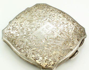 Vintage 950 Sterling Silver Hand Chased Powder Compact Engraved Monogram Foliate Scroll Decoration