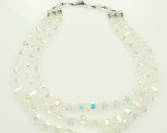 Vintage Three Strand Aurora Borealis Crystal Necklace - AB Fancy Shape Glass Triple Strand Beaded Collar - Vintage Jewelry