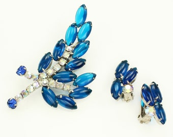 Vintage Blue Rhinestone Brooch and Earrings - 1960s Capri Blue and Aurora Borealis Jewelry Set - 1960s Vintage Costume Jewelry