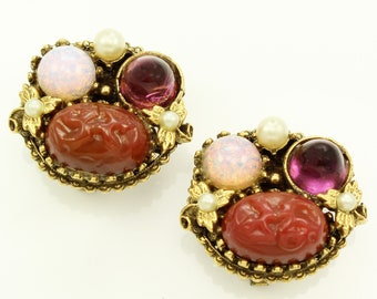 Lush Cabochon Cluster Vintage Coro Earrings - Carnelian Lava Amethyst Purple Opal Foil Art Glass Earrings - Signed Costume Jewelry