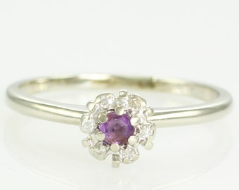 Vintage 14K White Gold Amethyst Diamond Round Cluster Ring Size 7 - Estate Birthstone Jewelry