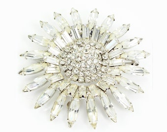 Vintage Signed Weiss Clear Rhinestone Sunflower Brooch in Silvertone - Signed Vintage Costume Jewelry - Weiss Crystal Jewelry