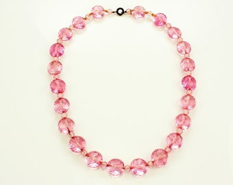 Vintage Art Deco Pink Crystal Bead Necklace - Vintage Faceted Lentil Beads - Glass Jewelry