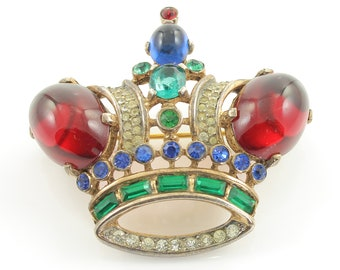 Trifari Large Sterling Red Cabochon Jelly Belly Crown Brooch - Alfred Philippe 1944 23.3 gram - Book Piece -  Vintage Signed Costume Jewelry