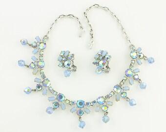 Vintage Baby Blue Aurora Borealis Rhinestone and Faux Moonstone NecklaceEarring Set - Crystal Drop Dangles - c1960 - Vintage Costume Jewelry