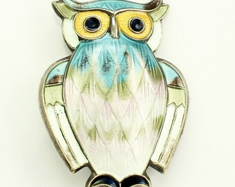 Vintage DAVID ANDERSEN Sterling Silver & Guilloche Enamel Owl Brooch Pin Norway - Norwegian Artisan Jewelry