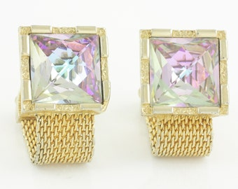 Sixties Mod Flashy Rhinestone Wrap Around Cuff Links - Swank Gold Tone Mesh Fancy Cut Pink Blue Irridescent Square Crystal - Vintage Jewelry