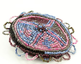 Beaded Coin Purse - Seed Bead Pouch in Pink Blue Brown - Circa 1930