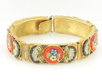 Vintage Italian Micro Mosaic Flower Bracelet -  Multi Color Floral Mosaic Panel Bracelet - Circa 1960 - Vintage Jewelry