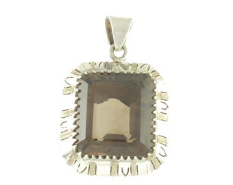 Over Sized Smoky Quartz Sterling Pendant - Vintage Mexican Silver 70 Carat Quartz Necklace Pendant - Made in Mexico - Vintage Fine Jewelry