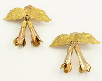 Set of 2 Vintage Bolivian 20K Rose and Yellow Gold FUCHSIA BLOSSOM Dangle Brooches Pin circa 1970