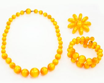 Vintage Sunshine Orange Moonglow Plastic Beaded Necklace Bracelet and Brooch Set - Vintage Costume Jewelry Demi Parure
