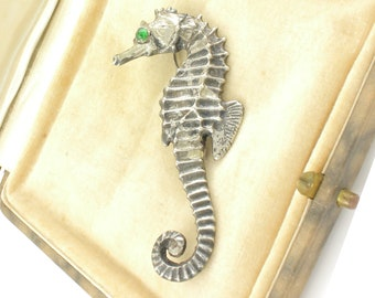 Vintage Seahorse Brooch Mexico Silver with Green Glass Eye - Mid Century Sterling Pin Pre-Eagle Mark - Vintage Mid Century Silver Jewelry