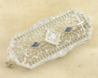 Edwardian 14K Diamond Lab Created Sapphire Filigree Pin - White Gold Brooch - .15 CT Old European Cut - Circa 1920 Antique Vintage Jewelry